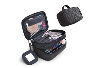 (Black) - Cosmetics Bag Double Layer Makeup Bag With Mirror Beauty Makeup Brush Bags Travel Kit Organiser Cosmetic Bag Professional Multifunctional Organiser For Women (Black)
