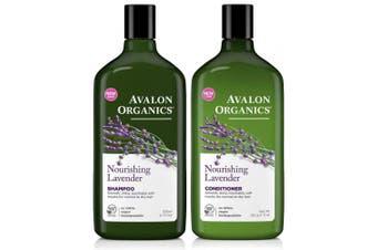 (Duo Set) - Avalon Organics Lavender Nourishing Shampoo & Conditioner Duo, 330ml
