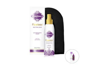 Fake Bake Flawless Self-Tanning Liquid | Streak-Free, Long-Lasting Sunless Natural Glow For All Skin Tones | Black Coconut Scent | Includes Professional Tanning Mitt For Easy Application | 180ml