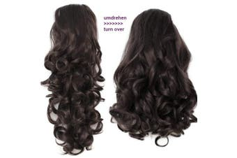 """PRETTYSHOP 2 IN 1 Hair Piece Clip On Pony Tail Extension 14"""" OR 18"""" Wavy Heat-Resisting Dark brown # 6 H20-2"""