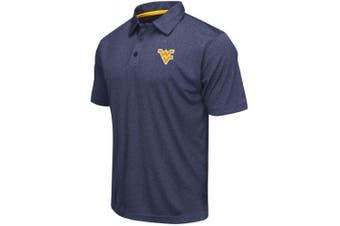 (Large, West Virginia Mountaineers-Heathered Blue) - Colosseum Men's NCAA Heathered Trend-Setter Golf/Polo Shirt