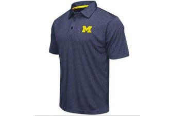 (Medium, Michigan Wolverines-Heathered Blue) - Colosseum Men's NCAA Heathered Trend-Setter Golf/Polo Shirt