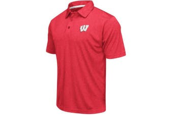(XX-Large, Wisconsin Badgers-Heathered Cardinal) - Colosseum Men's NCAA Heathered Trend-Setter Golf/Polo Shirt