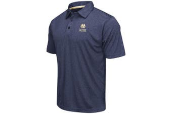 (X-Large, Notre Dame Fighting Irish-Heathered Blue) - Colosseum Men's NCAA Heathered Trend-Setter Golf/Polo Shirt