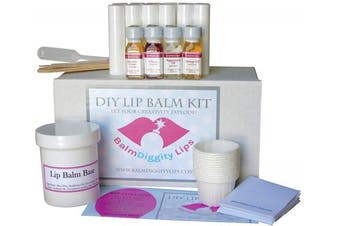 Ultimate DIY Lip Balm Kit | Everything You Need for 12 Tubes, Melt & Pour Balm Base, 4 Flavour Oils, Labels, Mixing Cups, Droppers & More! Easy - No Hassle - 12 Lip Balms For Healthy Lips