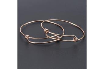 (Rose Gold) - Wholesale 12 PCS Wire Blank Bangle Bracelet Adjustable Expandable Stainless Steel Bracelet Bulk for Jewellery Making