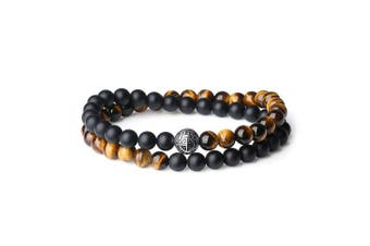 (Blessing Bracelet) - coai Double Layer 925 Sterling Silver 'Asia Blessing' Bead Onyx Tigers Eye Bracelet