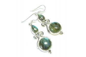 Grey Labradorite & Sterling Silver Gemstone Filigree Earrings