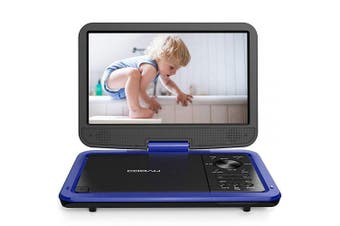 (Blue) - COOAU 32cm Portable DVD Player, High-Brightness Swivel Screen, Supports All Region, AV-in/AV-out/SD/USB/CD/DVD, 5-Hours Rechargeable Battery, Remote Controller, Blue