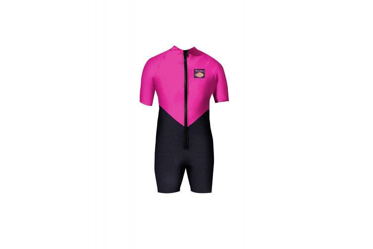 (Kids-4, Black/Fuchsia) - Aeroskin Kids Shorty Suit