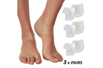 (2mm) - Plantar Fasciitis Inserts Heel Protectors – Silicone Gel Heel Cups for Bone Spur Relief (3 Pairs)