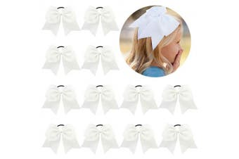 (12-White) - 12 Pcs Large Cheer Bows 20cm Bulk Hair Bow Accessories with Ponytail Holder for Girls High School College Cheerleading