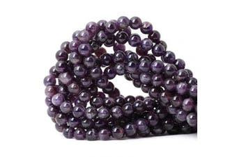 CHEAVIAN 45PCS 8mm Natural amethyst Gemstone Round Loose Beads Crystal Energy Stone Healing Power for Jewellery Making 1 Strand 15""