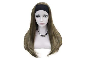 (#L10-124) - Lydell Long 3/4 women's wigs hairpiece Straight with Adjust Black Headband Blonde Highlighted wig Synthetic Hair #L10-124