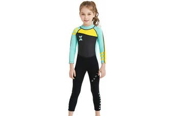 (Large, Green) - DIVE & SAIL Kids 2.5mm Wetsuit Long Sleeve One Piece UV Protection Thermal Swimsuit
