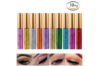 (10 Pcs) - Glitter Eyeliner Liquid Eyeshadow 10 Colours Highlighter Brighten Concealer Face Eye Cosmetic Glow Shimmer Makeup Glitter Brighten Pigments Makeup Cover Perfection Tip Concealer for women (10 Pcs)