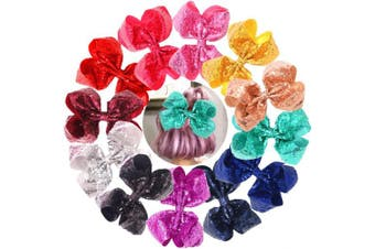 (12 Alligator Clips) - Bling 20cm Big Sequins Hair Bows Alligator Clips for Girls,Toddlers,Teens,Senior,Women Any Occassion Pack of 12