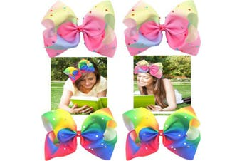 (Multi-Colored) - 4 Pcs Big Bow with Alligator Clips Sparkly Glitter 18cm Rainbow Bow Hair Clips for Girls Accessories