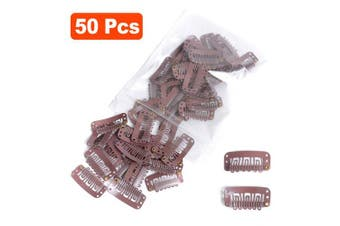 (3.2cm-Medium Size, Brown) - Snap Clips for Hair Extensions Weaves 50pcs U-shape Metallic Wig Clips With Silicon Rubber Medium Size Brown