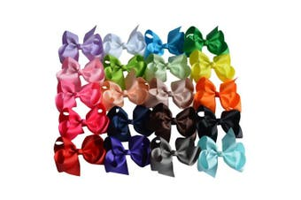 """(7""""with headbands) - Bzybel Boutique 20pcs 11cm Baby Girls Hair Bow Clips Grosgrain Ribbon Barrettes Headbands Party Hair Clips Hair Accessories for Girls Teens Kids"""