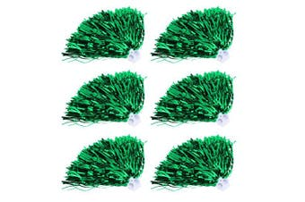 (Green) - Vbestlife Cheerleader Pom Poms 12pcs Cheerleading Poms Metallic Foil Pom Poms Squad Cheer Sports Party Dance Useful Accessories
