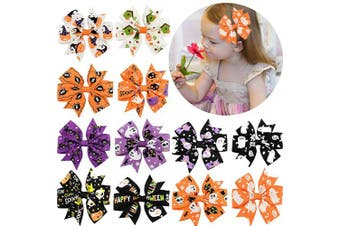 (7.6cm , 12PCS-AHalloween) - 12 Pcs Hair Bows Clips 7.6cm Boutique Alligato Halloween Bow Grosgrain Ribbon Accessories For Girls Baby Toddlers Kids