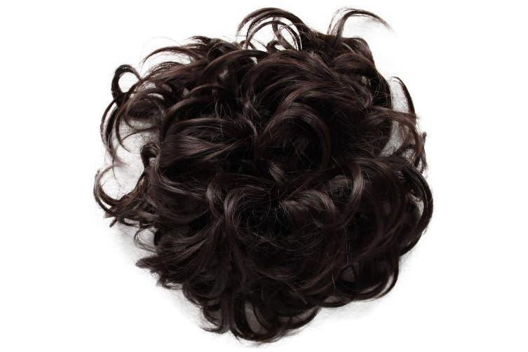 (Brown chocolate # 4 HW5) - PRETTYSHOP XXXL Hairpiece Hair Wrap Scrunchie Scrunchy Updos, VOLUMINOUS, Curly Messy Bun, Brown chocolate # 4 HW5