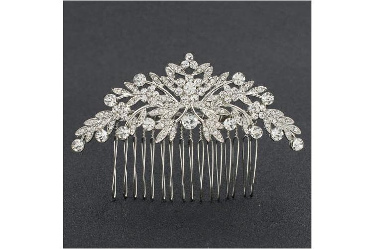 SEPBRDIALS Rhinestone Crystal Wedding Brides Leaves Hair Comb Pins Pieces Accessories Jewellery FA5088 (Silver)