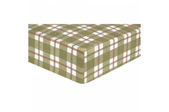(Standard Crib/Toddler, Green) - Trend Lab Deer Lodge Plaid Flannel Fitted Crib Sheet, Green