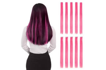 (60cm -10pcs, Pink) - Coloured Clip in Hair Extensions 50cm 10pcs Straight Fashion Hairpieces for Party Highlights Pink