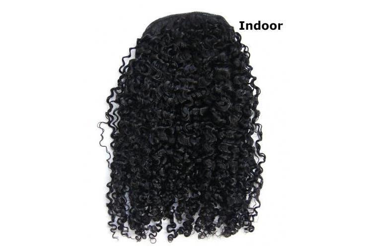 (46cm , 3b/3c kinky curly) - Ms Fenda Hair Raw Remy Virgin Peruvian Human Hair Natural Colour 3B 3C S Kinky Curly Hair Piece Clip-in Top Closure Ponytail (46cm )
