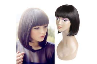 (30cm , bob black) - Short Bob Hair Wigs 30cm Straight with Flat Bangs for Women 100% Human Hair Bob Straight Wig with Flat Bangs (30cm )