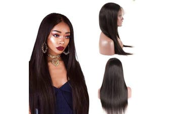 (46cm  360 wig) - BQ HAIR 360 Lace Frontal Wig Pre Plucked-130% Density Straight Lace Front Wig- Brazilian Virgin Remy Human Hair-Natural Colour (46cm 360 wig)
