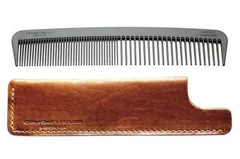 Chicago Comb Model 6 Carbon Fibre Comb + English Tan Horween leather sheath, Made in USA, ultimate styling comb, for men & women, ultra smooth strong & light, anti-static, premium leather sheath
