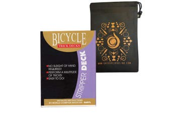 (Red) - Stripper Bicycle Deck - Easy Magic Card Trick - Includes Cascade Card Bag (Red)