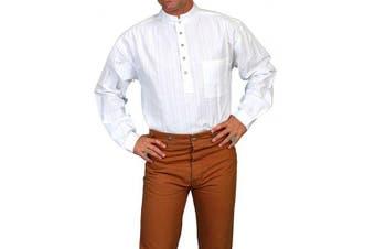 (X-Large, White) - Scully Rangewear Men's Rangewear Natural Old Fashioned Railroader Shirt - Rw015 WHT