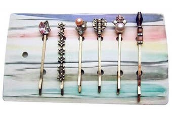 6 Anthropologie Antique Style Bobby Hair Pins With Jewels