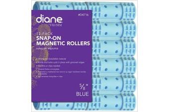 (1.6cm ) - Diane Snap On Magnetic Roller, Blue, 1.6cm , 12/bag