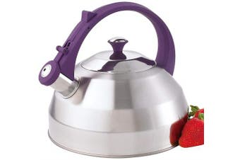(pruple) - Creative Home Steppes Stainless Steel Whistling Tea Kettle with Purple Handle and Knob