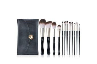 (12PCS Brushes with Bag) - Make Up Brushes MSQ 12pcs Black Makeup Brush Set with Bag, PU-Leather Bag for Travel/Gift, for All Consistencies (Powder, Creams and Liquids)