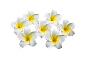 (yellow) - 12PCS Women's Grils Hawaiian Plumeria Flower Hair Clips Wedding Bridal Decoration Hairpin Barrette Hair Accessories For Party Beach Holiday (yellow)