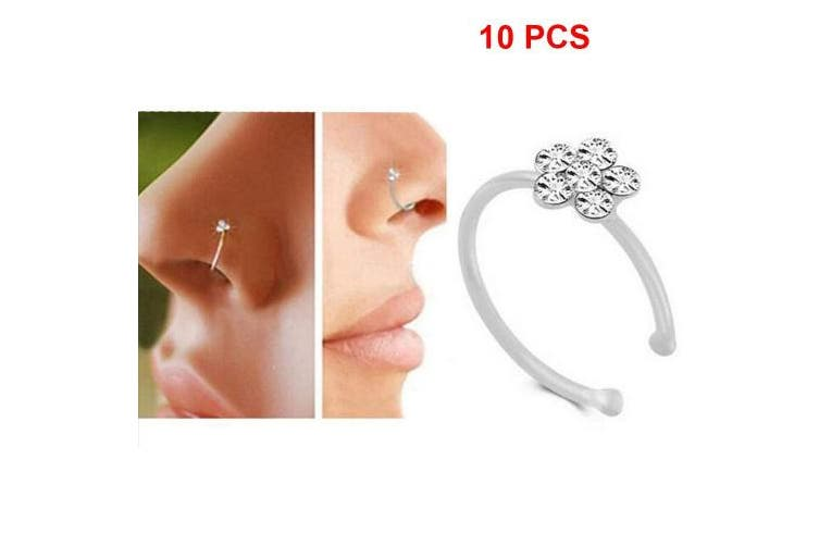 10pcs Pralb Small Flower Crystal Stainless Steel Nose Ring Cool