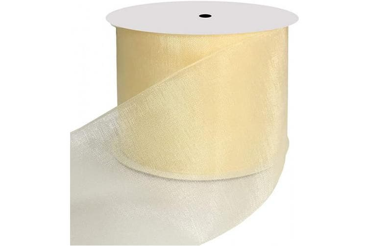 (Cream) - DUOQU 5.1cm Wide Shimmer Sheer Organza Ribbon 20 Yards Cream
