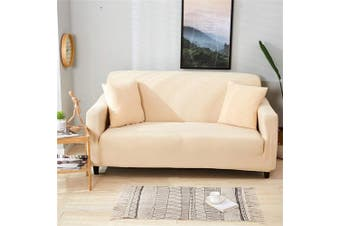 (1 Seater, Beige) - HOTNIU Waterproof Stretch Sofa Slipcover - 1-Piece Stretchable Fabric Couch Cover - Flocked Pattern Fitted Couch Slipcover (1 Seater, Beige)