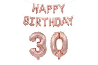 (Age 30 + Happy Brthday) - Rzctukltd 16/18/21/30/40/50/60/70 Rose Gold Self Inflating Foil Happy Birthday Balloons Banner Party (Age 30 + Happy Brthday)