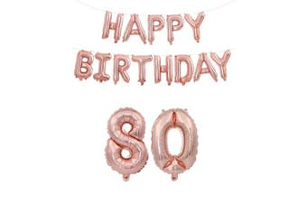 (Age 80 + Happy Brthday) - Rzctukltd 16/18/21/30/40/50/60/70 Rose Gold Self Inflating Foil Happy Birthday Balloons Banner Party (Age 80 + Happy Brthday)