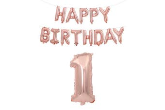 (Age 1 + Happy Brthday) - Rzctukltd 16/18/21/30/40/50/60/70 Rose Gold Self Inflating Foil Happy Birthday Balloons Banner Party . Happy Brthday)
