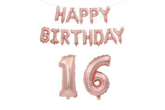 (Age 16 + Happy Brthday) - Rzctukltd 16/18/21/30/40/50/60/70 Rose Gold Self Inflating Foil Happy Birthday Balloons Banner Party . 6 + Happy Brthday)
