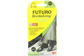 (Large) - FUTURO Revitalising Trouser Socks for Women, Moderate, Large, Black 1 ea