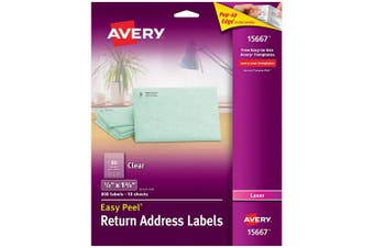 (800 labels) - Avery Matte Frosted Clear Return Address Labels for Laser Printers, 1.3cm x 2.5cm - 1.9cm , 800 Labels (15667)
